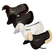 Cotton Half Pad with Sheepskin rolls front and rear. Four colors - Brown, Black, White and Natural color sheepskin on a dark brown pad. Thinline area sewn on top for shim insertion.