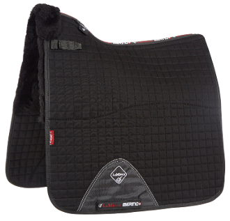 Two color options shown black with Black wool and white with natural wool. Full Square dressage saddle pad
